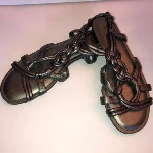 BCBG Paris graphite metallic strappy sandals 7.5